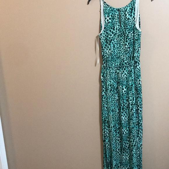 a7097cccf3c4 Jennifer Lopez Dresses | Green Leopard Print Maxi Dress Size 10 ...